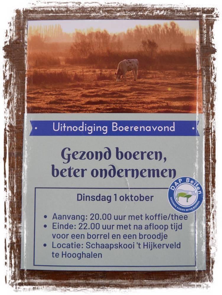 Uitnodiging Boerenavond dierenartsenpraktijk Beilen 1 oktober 2019
